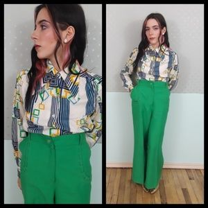 Groovy vtg 70s pointy collar button down shirt!